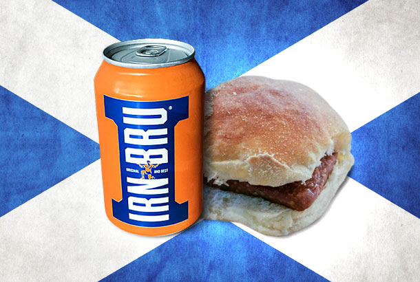 Irn Bru and Roll and Square Sausage