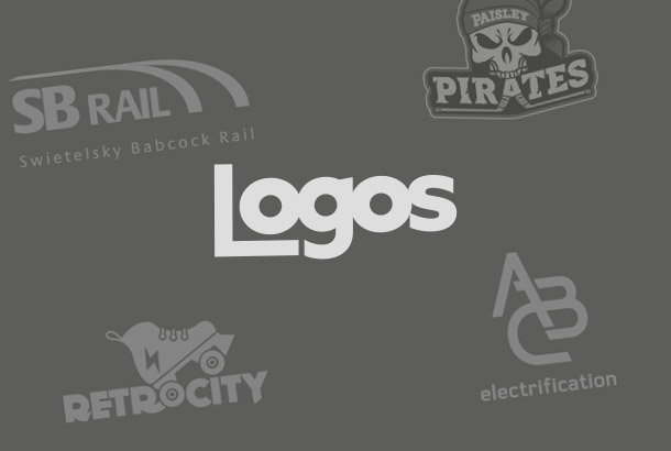 Logos word with logos on background